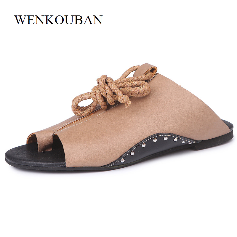 Gladiator Sandals Women Slippers Flip Flops Summer Flat Roman Sandals Ladies Casual Shoes Rubber Slides Zapatos Mujer  Size 43 covoyyar 2018 fringe women sandals vintage tassel lady flip flops summer back zip flat women shoes plus size 40 wss765