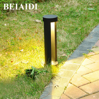 BEIAIDI 40/60CM Modern LED Outdoor Park Patio Garden Lawn Light Waterproof 2 Column Aluminum Community Park Pathway Post Lamp