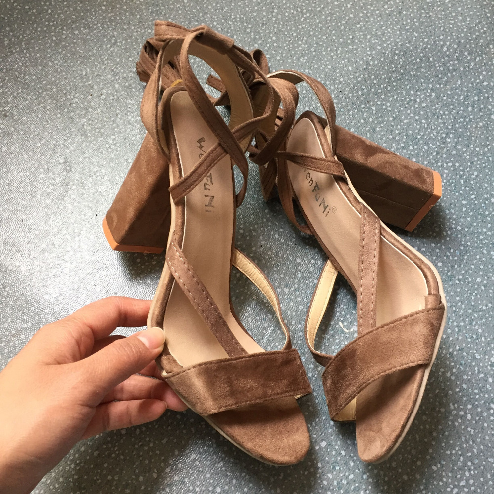 2018 New Fashion Womens Sandals Cross Tied Summer High Heels Platform Pupms Shoes Peep Toe Size 40 41 42 43 aa0794 in High Heels from Shoes