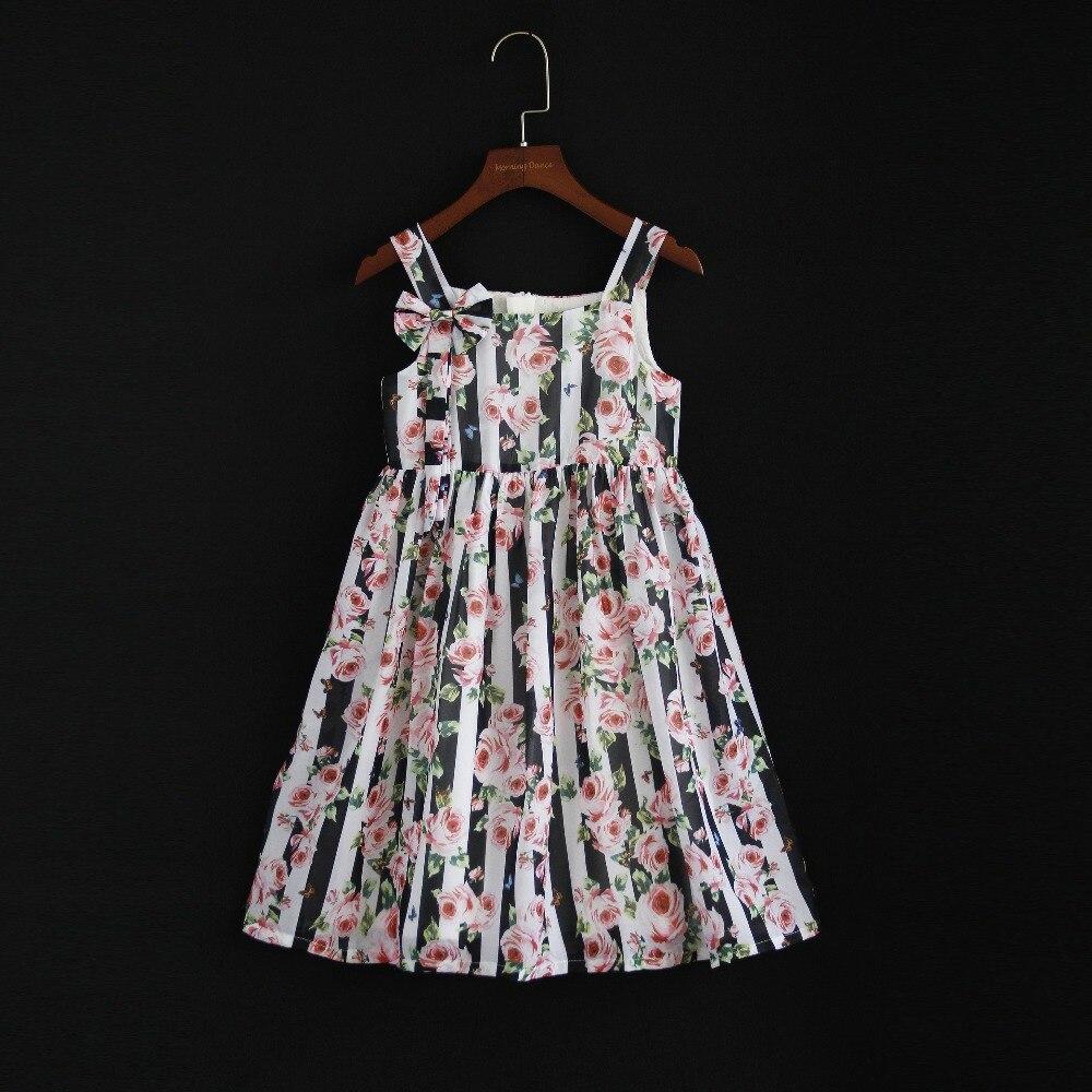 Été style européen enfants vêtements maman et filles famille look vêtements fille vacances robe en mousseline de soie mère fille robe de plage
