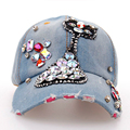 Exquisite Luxuxy Colorful Diamonds Cute Cat Girls Caps Fashion Women's Summer Manural Drill Decorated Denim Baseball Caps SY572