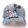 Luxuxy requintados Diamantes Coloridos Gato Bonito Meninas Caps Moda SY572 Manural Broca Decorado Denim Bonés De Beisebol de Verão das Mulheres