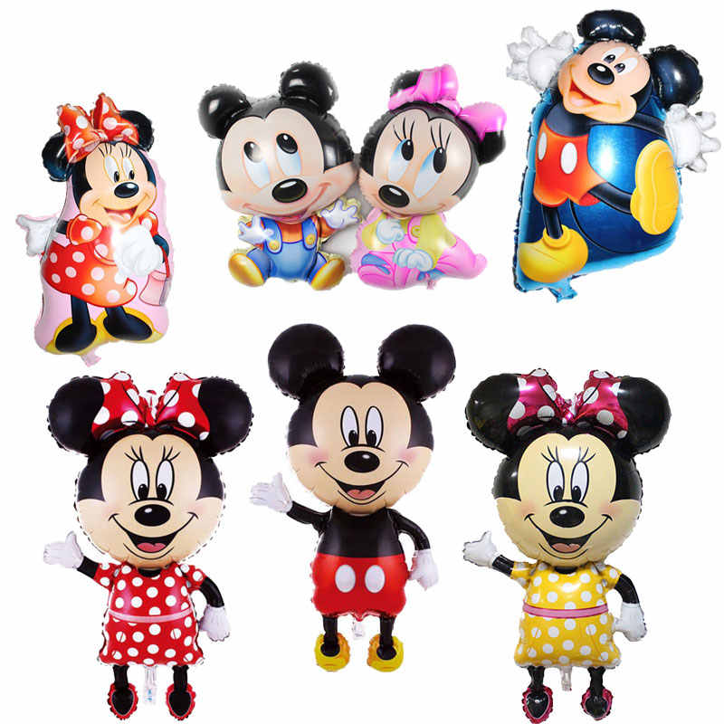 1PC Mickey Minnie Mouse Foil Balloons Happy Birthday Party Decoration Mini Mickey Head Medium Mickey Head Balloon Children's Toy