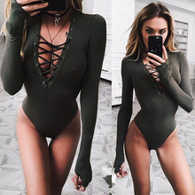 Sexy bandage bodycon Women fitness Jumpsuits rompers Long Sleeve Slim silk Perspective army green Bodysuit Overalls Playsuit