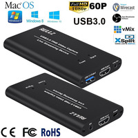 1080P 60fps HDMI to USB 3.0 Video Capture Card Device Live Streaming Recording Box Adapter with Mic in Line Out HDMI Pass to TV