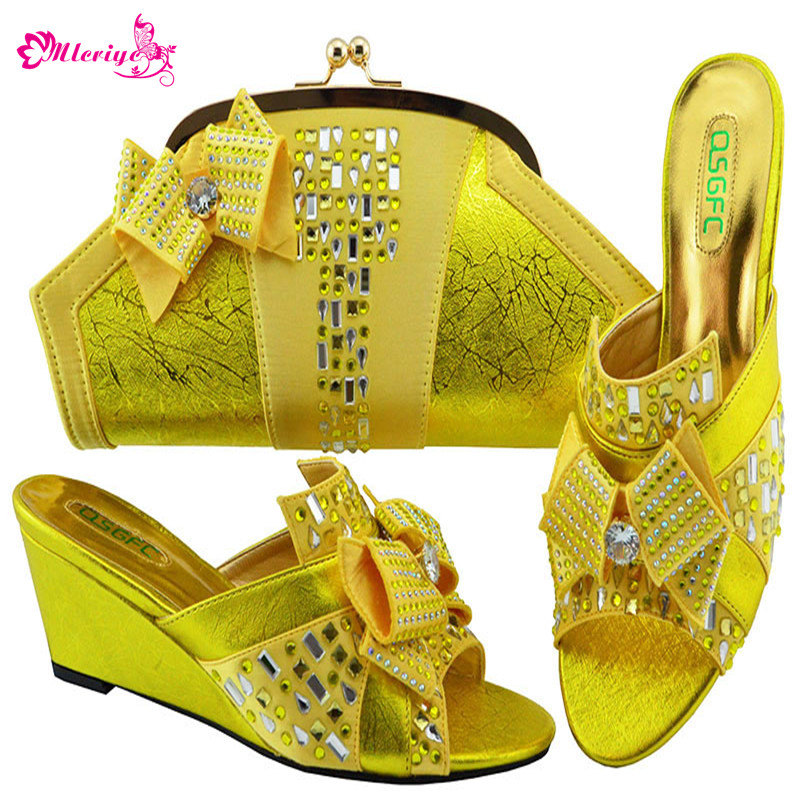 Latest Peach Color Shoes And Bags Set African Sets 2019 African Shoes And Matching Bags Italian Women Rhinestone Wedding Shoes
