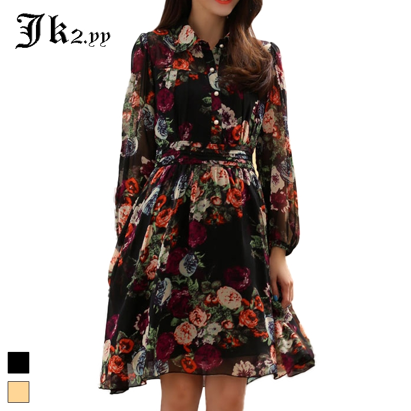 M-3XL Korean Style Floral Print Shirt Dresses 2017 Spring Summer Chiffon Dress Office Ladies Long Lantern Sleeve High Waist 9845 floral chiffon dress long sleeve