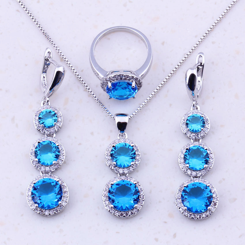 Valuable Sky Blue Crystal Cubic Zircon 925 Sterling Silver Jewelry Sets For Women Party Fashion Jewelry Free Gift Box J0020
