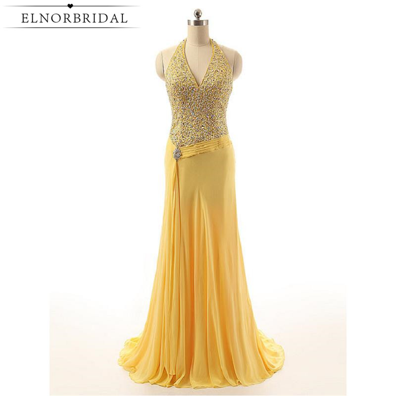 2017 Luxury Yellow Prom Dresses Open Back Vestido De Festa Halter Beading Chiffon Formal Evening Gowns For Women Party Dress
