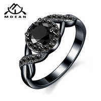 MDEAN Black Gold Color Wedding Rings Fashion Engagement black AAA for Women Zircon Jewelry Bijoux Bague Size 6 7 8 9 10 H465