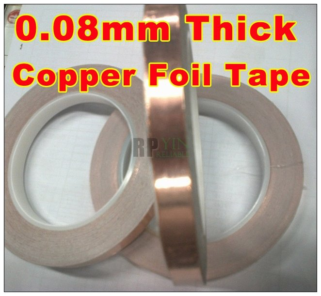 1x 5mm *30M *0.08mm Thickness CU Copper Foil Tape, One Side Adhesive, One Side Conductive, Electromagnetic radiation Shielding