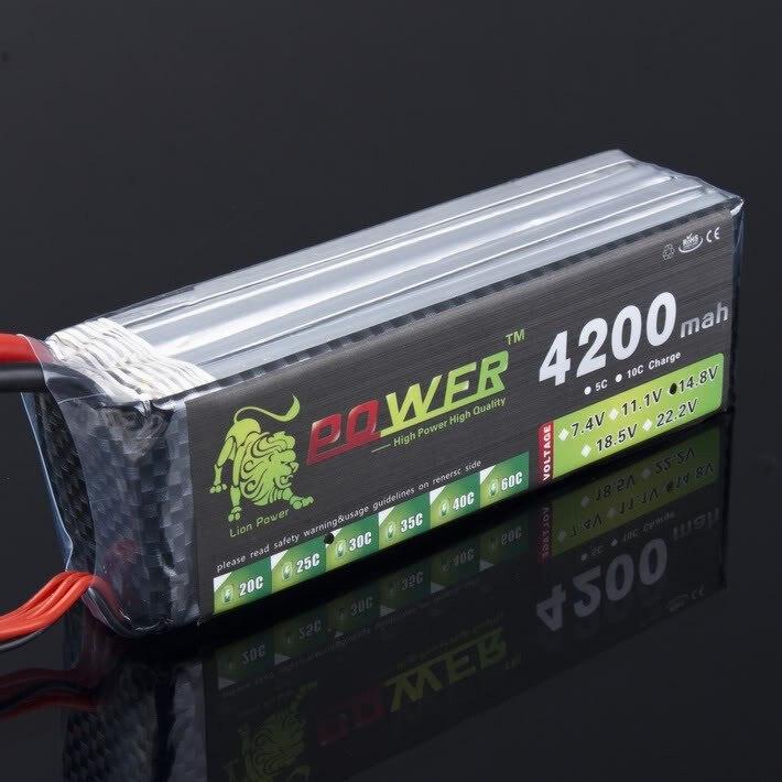 Haute qualité Lion puissance 14.8 v 4200 mAh 4 S 30C LiPo batterie pour RC hélicoptère RC voiture bateau quadrirotor télécommande jouets pièces
