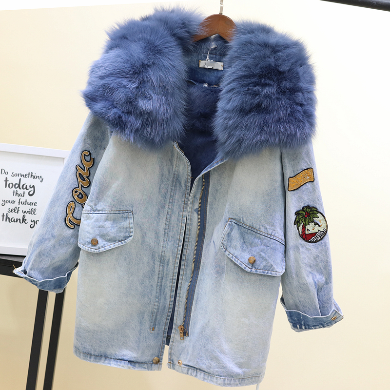 2019 New Winter Real Fox Fur Collar Thickened Warm   Parkas   Natural Rabbit Hair Inner Denim Coat Draw Waist Denim Cotton Jacket
