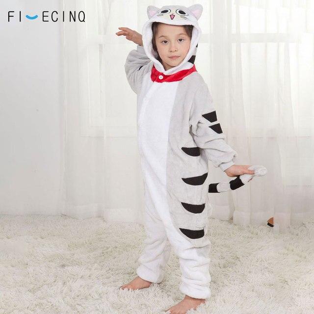 Anime Chi Cát Onesie Cosplay Hoạt Hình Kid Bộ Pyjama Mùa Đông Ấm Áp Mềm Mại Kigurumis Kawaii Trang Phục Cô Bé Homewear Nút Đảng Phù Hợp Với