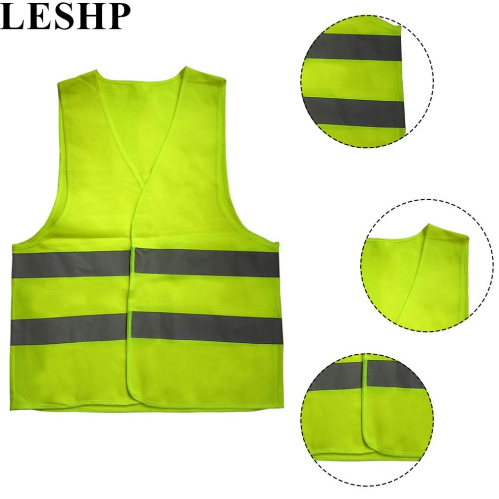 LESHP Safe Reflective Vest Ventilate High Visibility Reflective Fluorescent Vest Outdoor Safety Clothing for Running Contest 2016 real top fashion safety construction reflective vest more than a single fluorescent green lattice safety vest zip pocket