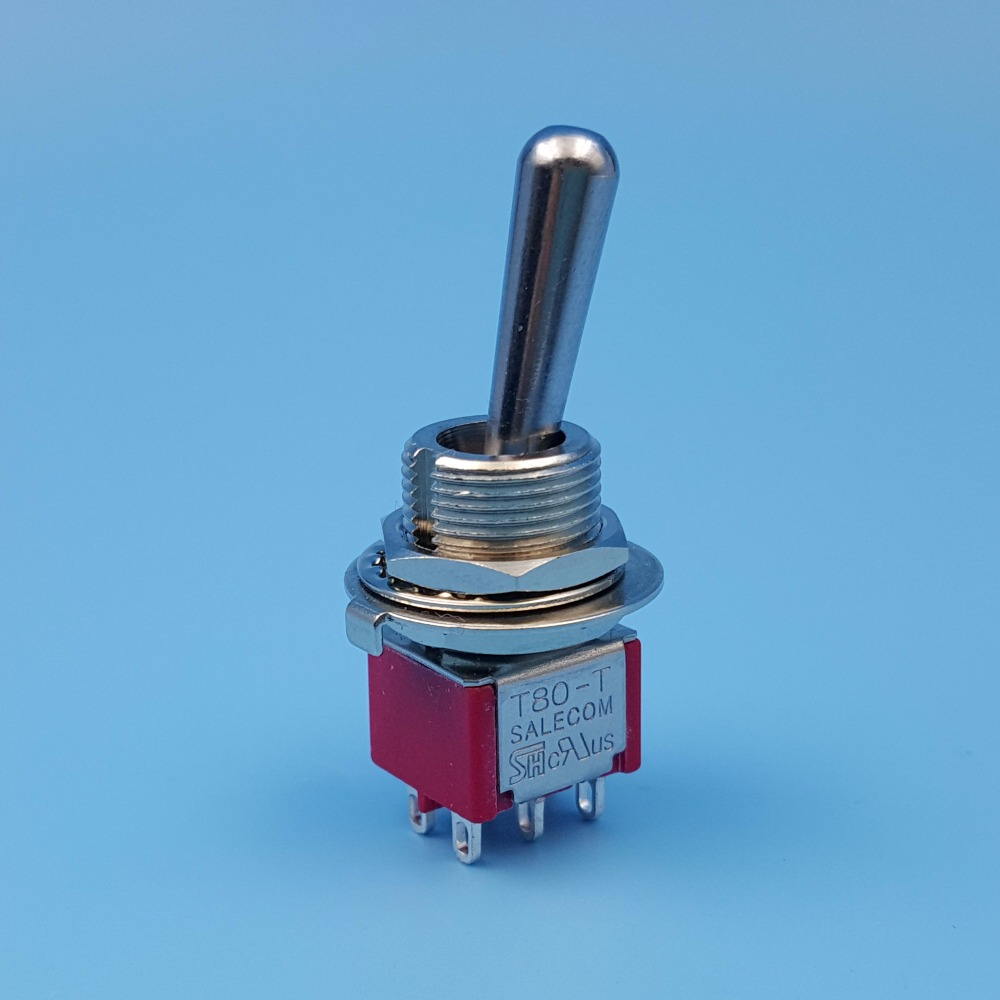 SH T8011-Z1 Large Handle ON-ON 6Pin 2Position Maintained DPDT 12mm MIni Toggle Switch