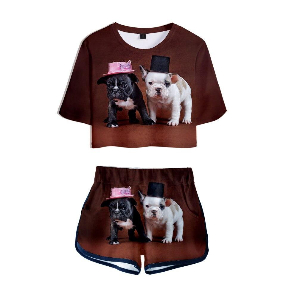 Französisch Bulldog 3d Gedruckt Frauen Zwei Stück Sets Mode Sommer Kurzarm Crop Top + Shorts 2019 Trendy Streetwear Kleidung