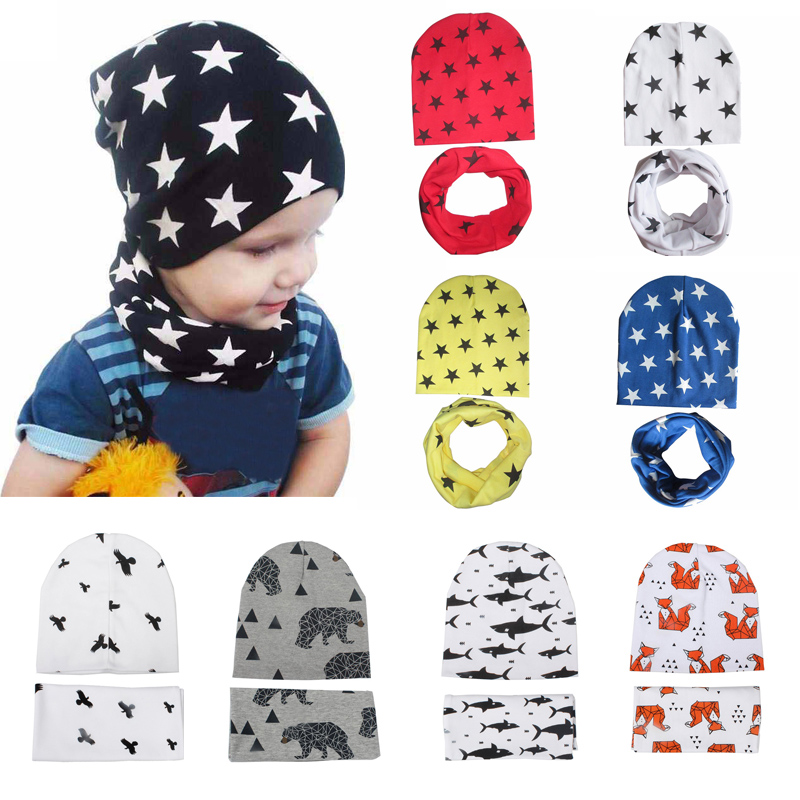 2Pcs/set Toddler Childrens Beanie Head Cap Dome Baby Accessories Collar Scarf Small Star Hat Infant Cotton Cap years old