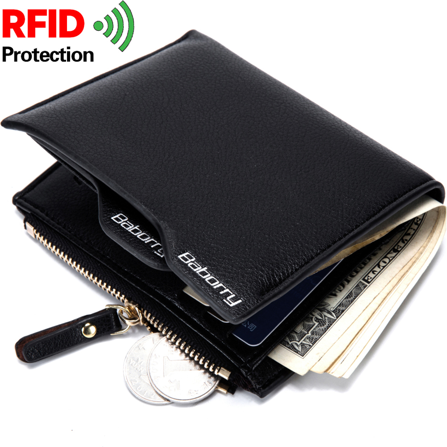 3PCS New Mens short wallet Antimagnetic RFID anti Radio frequency identification RFID anti stealing double zipper wallet3PCS New Mens short wallet Antimagnetic RFID anti Radio frequency identification RFID anti stealing double zipper wallet