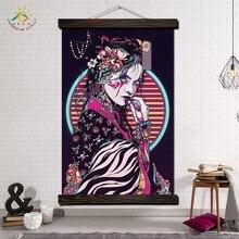 цена Japanese Make-up Geisha Modern Wall Art Print Pop Art Posters and Prints Scroll Canvas Painting Wall Pictures for Living Room онлайн в 2017 году