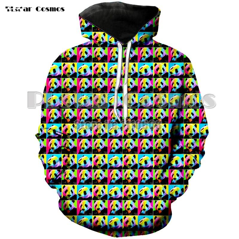 Lovers Hooded Sweatshirt 3d Printed panda colorful Women men Sweatshirt pullover Hoodie long sleeve coat Unisex jacket