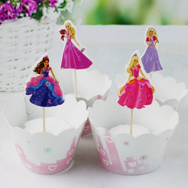 24pcs Paper Cupcake Wrappers Topper Princess Girl Theme Party Decoration Kids Birthday Cake Decorate Supplies 12set