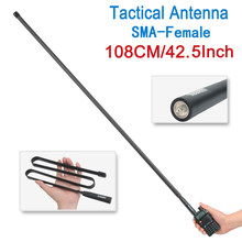 108CM ABBREE SMA-Female VHF UHF Dual Band 144/430Mhz Foldable Tactical Antenna For Walkie Talkie Baofeng UV-5R UV-82 RadioAR-F8(China)