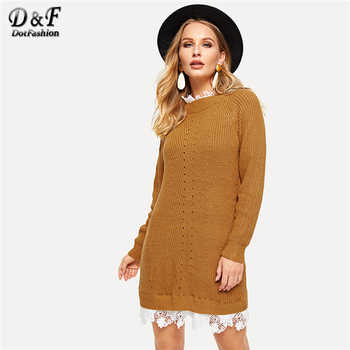 Dotfashion Brown Floral Lace Insert Eyelet Sweater Dress Women Clothes 2019 Autumn Casual Stand Collar Colorblock Straight Dress