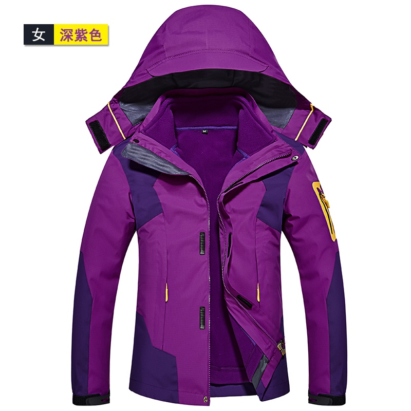 New Climbing windproof waterproof jackets 3 in 1 women sports coat Winter jacket couple skiing jacket