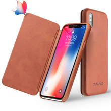 QIALINO Luxury Ultrathin Genuine Leather Case for Apple for iPhone X UNBreak Flip Pure Handmade Cover for iPhone X for 5.8 inch