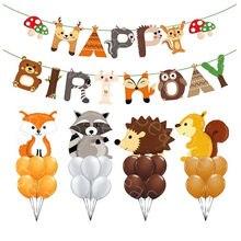 Animal Floresta Floresta Tema da Festa de Aniversário Decoração de hélio Foil Balões bolas Raposa Ouriço Esquilo Guaxinim Bebê Chuveiro Bandeira