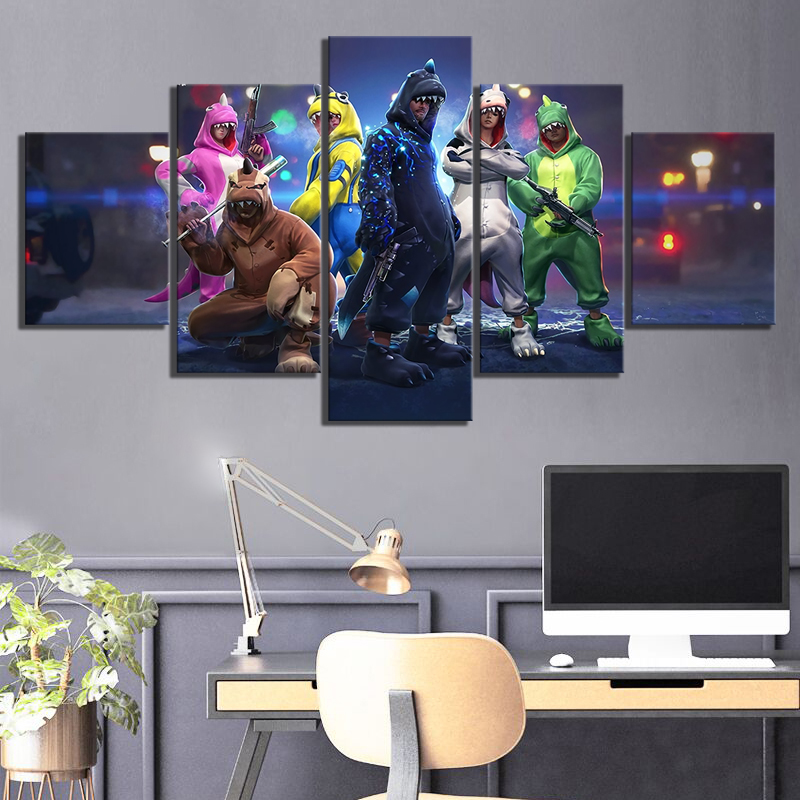 Us 612 49 Off5 Piece Free Fire Battlegrounds Games Poster Artwork Paintings Garena Free Fire Video Games Canvas Paintings Wall Art In Painting