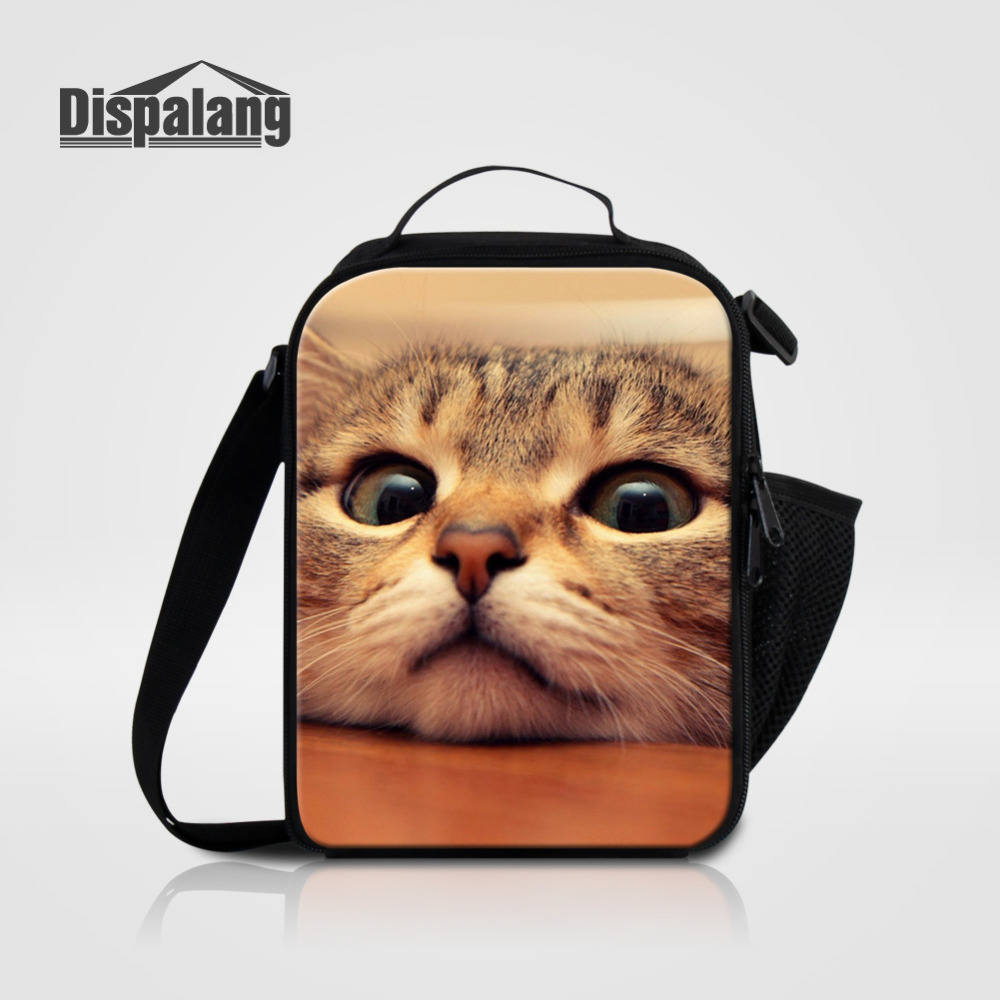 Dispalang Portable Insulated Cooler Lunch Bag For Childreren Animal Cat Print Thermal Food Picnic Bags Women Kids Lunch Box Tote