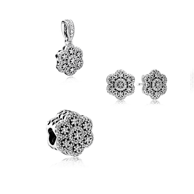 Crystallized Floral Beads Stud Earring Charm Pendant 100% 925 Sterling Silver Clear Cz Jewelry Set for Women Fine Jewelry PFS472Crystallized Floral Beads Stud Earring Charm Pendant 100% 925 Sterling Silver Clear Cz Jewelry Set for Women Fine Jewelry PFS472