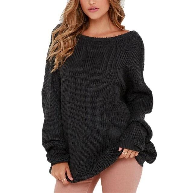 Женщины С Длинным Рукавом Спинки Вязаный Свитер Пуловер Свободные Свитера Трикотаж