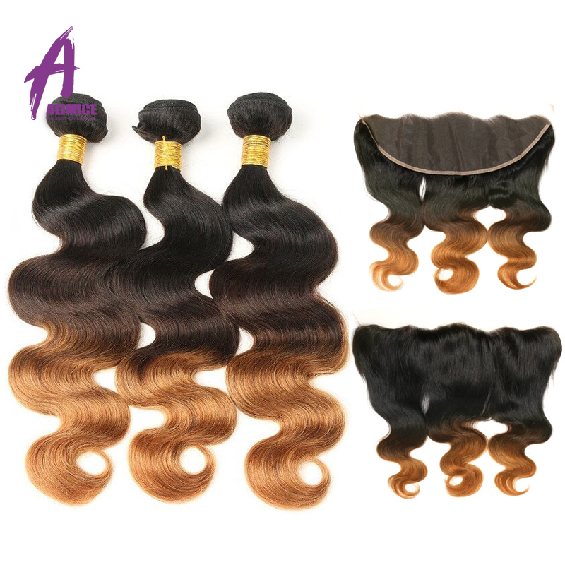 Ombre Bundles With Frontal Ear To Ear Lace Frontal With 3 Bundles T1B 4 30 Brazilian