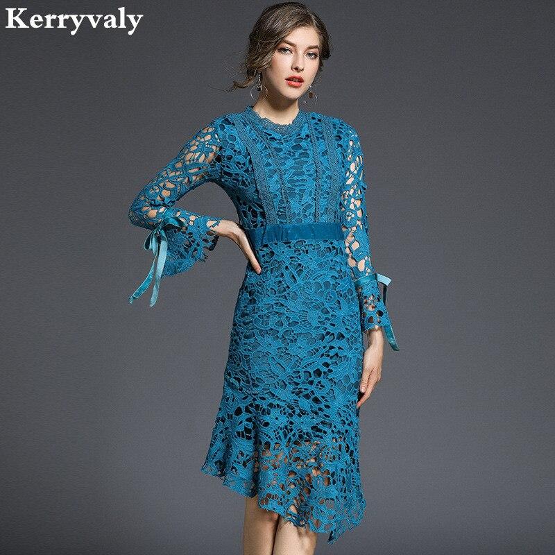 Spring Irregular Hollowed Out Blue Lace Dress Woman Dress 2018 Vestiti Donna Package Hip Bodycon Drees Kleider Damen K6151 ...