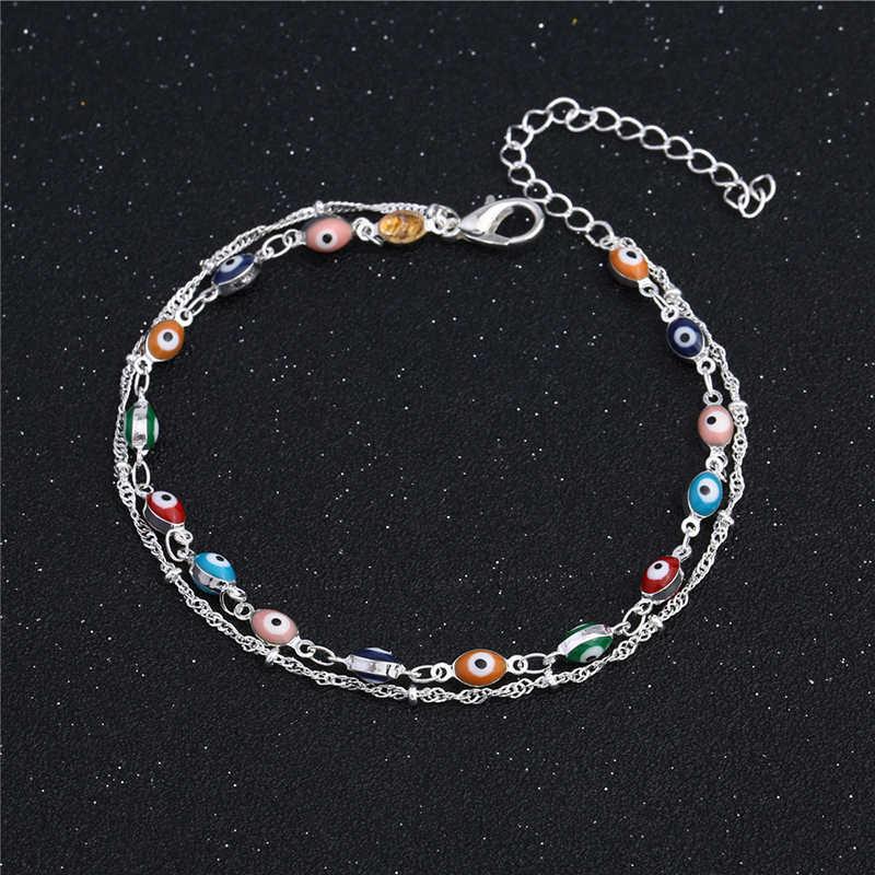 תכשיטים בעבודת יד נשים יחף רגל תכשיטי קיץ 925 סטרלינג כסף עין רעה קרסול צמיד 5B154
