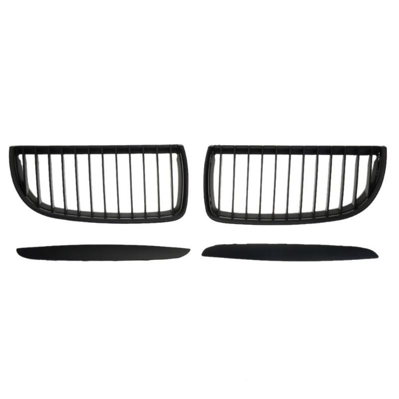 1 Pair Abs Matte Black Front Kidney Grilles Racing Grills For Bmw E90 318 320i 325i 330i 2004-2007 Auto Exterior Replacement Firm In Structure