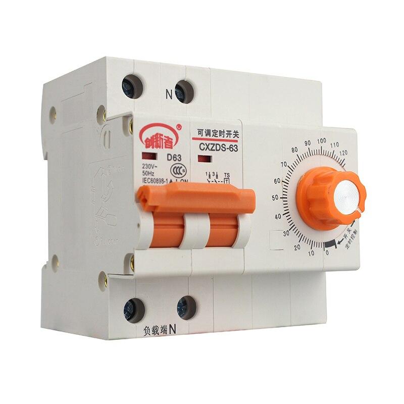 63A 220 V MCB avec Fonction de Réglage De L'heure Protection Minuterie Compte À Rebours Mini Disjoncteur
