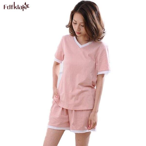 4df8d317ae42 2017 Moda Nowe Bawełniane Dresy damskie Dekolt Piżamy Damskie Letnie  Krótkie Piżamy Pijamas Nocna piżamy Ustawia