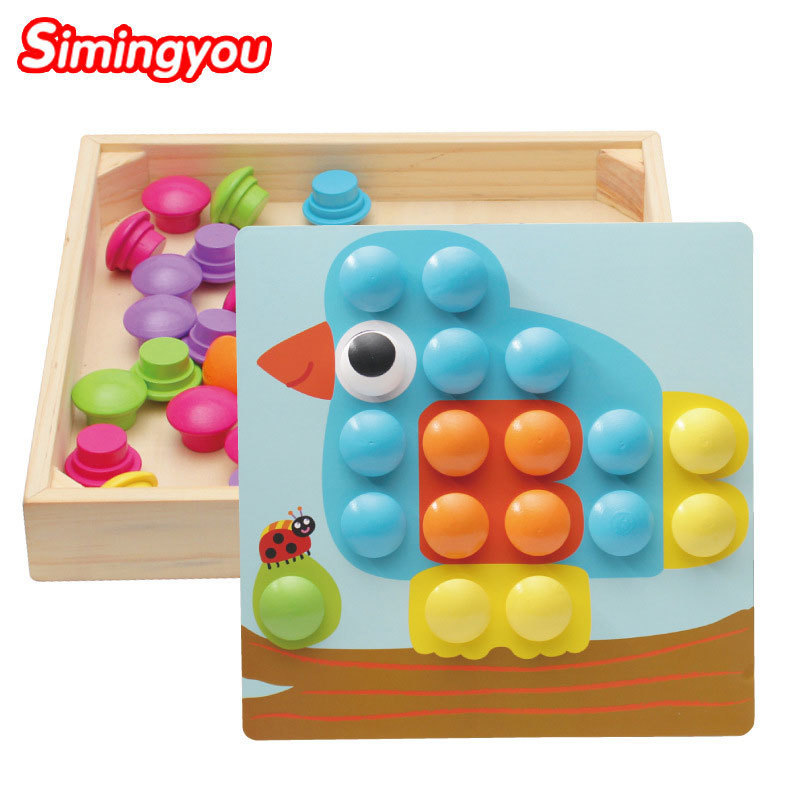 Simingyou 10 Pcs Learning Education DIY Wooden Mushroom Nail Intelligent 3D Puzzle Games Children Toys A50-07 Drop Shipping женская футболка other 2015 3d loose batwing harajuku tshirt t a50