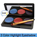 Free shipping! 2013 New Pro 3 color shimmer glitter makeup eyeshadow palette with mirror & double ended brush, 3P-04#