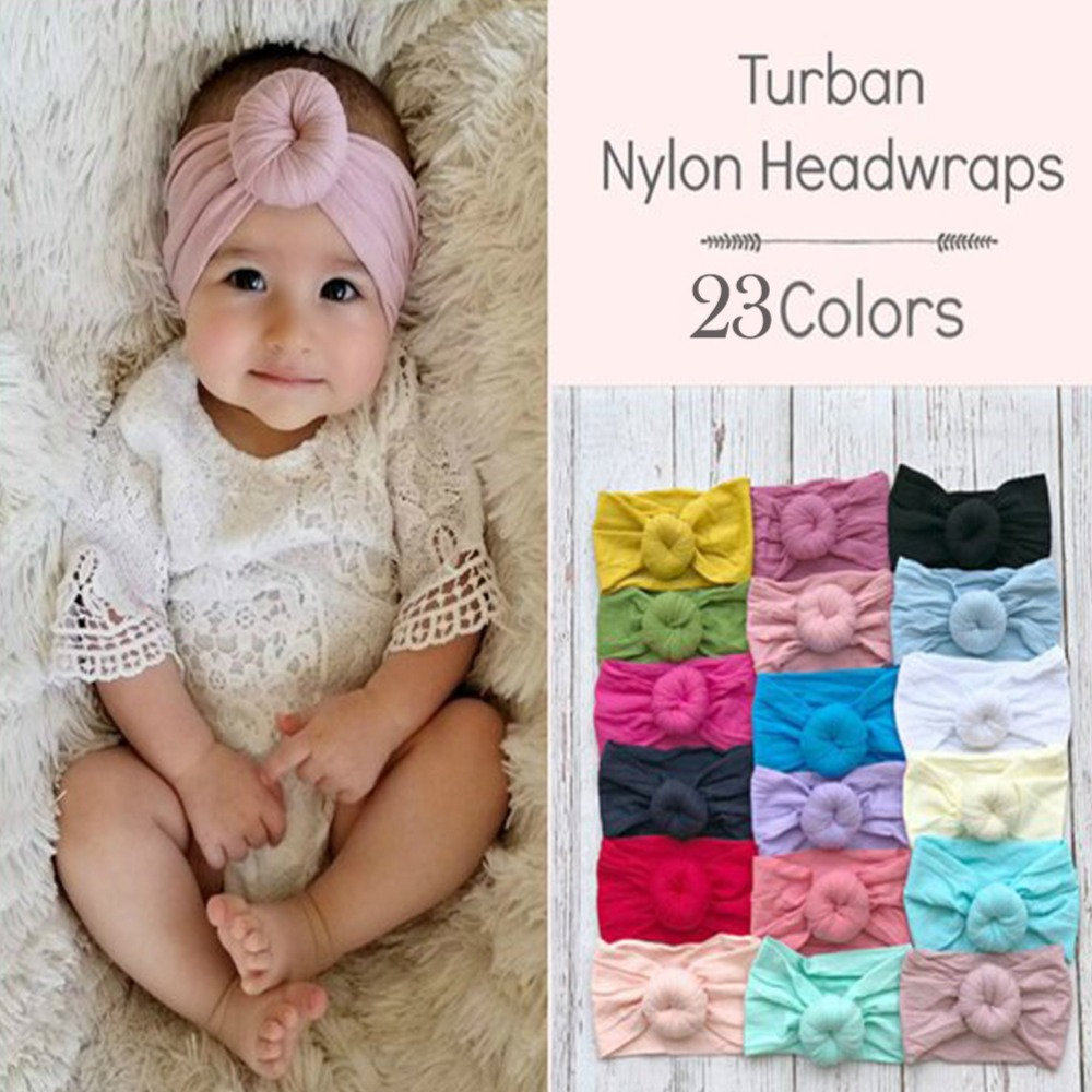 Accessories Ins 23 Colors New Arrivals Girls Round Knot Nylon Headbands Elastic Wide Nylon Hair Bands Kids Turban Accesorios Para El Cabello Hair Accessories