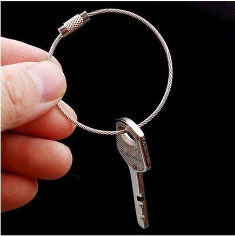 2 uds. De acero inoxidable cuerdas de alambre de Metal mosquetón anillo de alambre Arco Iris EDC herramienta colgante hebilla llavero