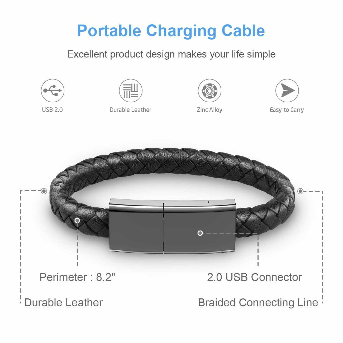 Outdoor Portable Kulit Mini Micro USB Gelang Charger Kabel Pengisian Data Sync Kabel untuk IPhone6 6 S Android Tipe- C Kabel Telepon