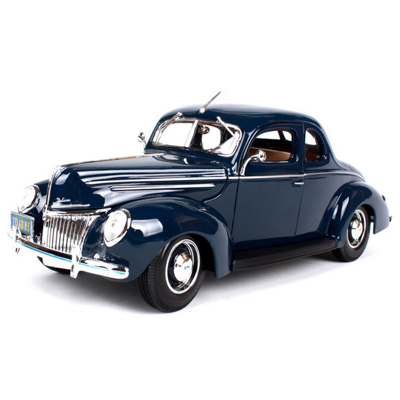 1/18 Scale Ford 1939 Deluxe Classic Vintage Classic Blue Diecast Car Models Toys For Children Gifts Displays Brinquedos maisto car styling 1 18 scale diecast alloy model cars ford classic car models kids toys for boys children gift brinquedo