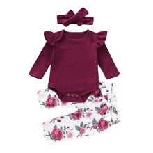 Fashion Toddler Baby Infant Girls  Clothes Long Sleeves Romper Tops+Floral Pants+Headbands Outfits Set цены онлайн