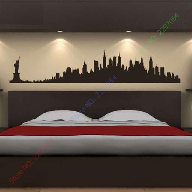 New York City Skyline Wall Stickers America USA Places Wall Art Decal Transfers Custom Made Color : city skyline wall art - www.pureclipart.com