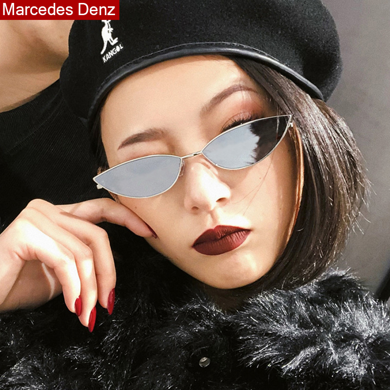 2019 New Cute Sexy Sunglases Retro Cat Eye Sunglasses Women Metal Triangle Vintage Cateye Sun Glasses Female image